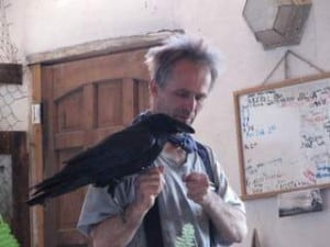 Arvo Thomson with Carlos the raven