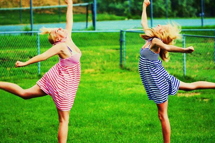 Women jumping in joy
