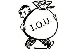 Man holding bag of money - IOU
