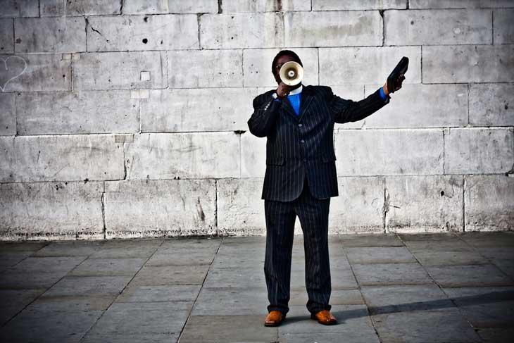 Man speaking on megaphone