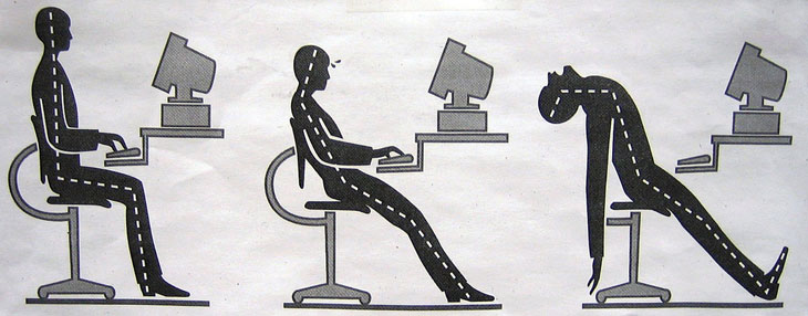 Seated posture while working at desk