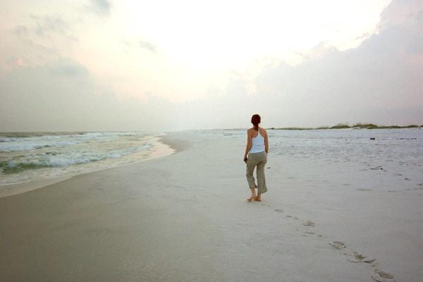 Mindful walk on the beach
