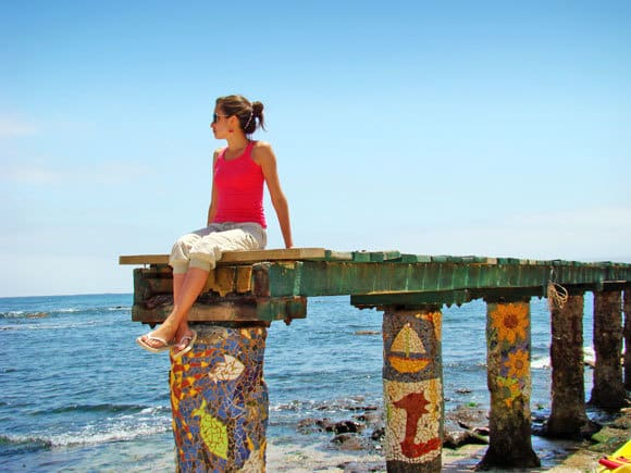 Woman sitting on dock - affirmations