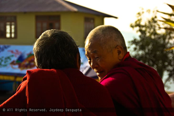 Two Buddhist monks talking