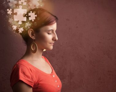 Girl with glowing puzzle mind - The road to enlightenment