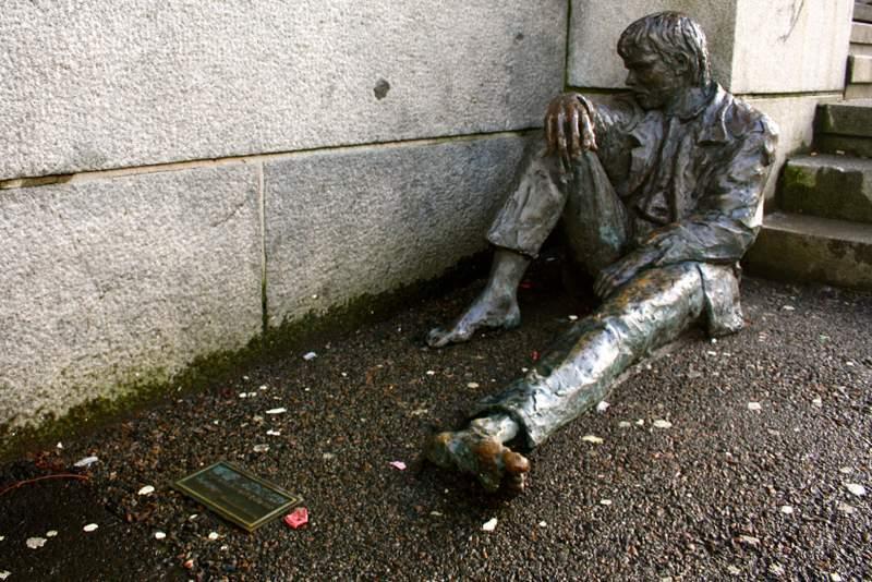 Statue of homeless man in Bergen, Norway