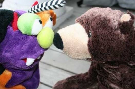Monster and bear touch noses - The Mindful Monster fiction