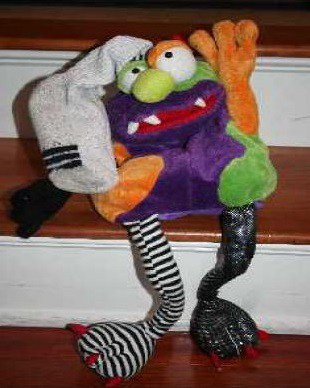 Monster with sock on head - The Mindful Monster fiction