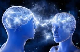 Two connected human brains - Your feelings my brain