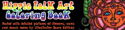 Hippie Folk Art Coloring Book by Dawn Collins