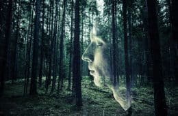 Man with closed eyes and forest as background - Mindful Awareness by Mike Larcombe