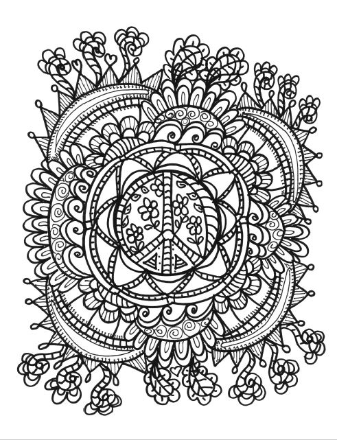 Free Coloring Pages For Adults Funky Pictures From Hippie