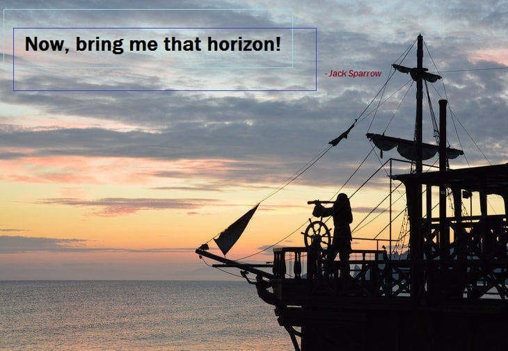 jack sparrow - travel - sailing - hope - boat - horizon