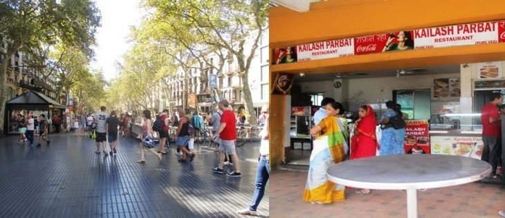 Barcelona street scene and Mumbai restaurant scene - The world that is there for us
