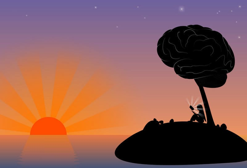 silhouette of girl under tree on island at sunset
