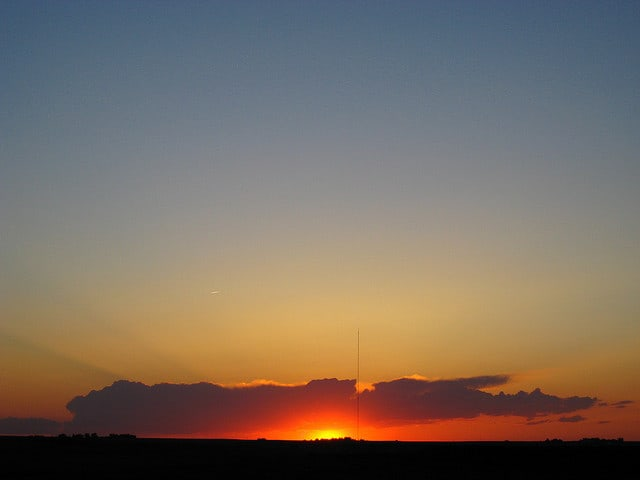 Sunset over the open space of the great plains