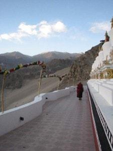 Monk perambulating stupas at Thiksey Monastery