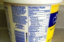 Nutrition facts - food label on margarine