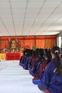 Spiritual Warriors - students in the puja hall