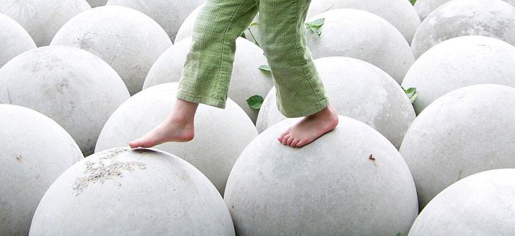 Walking on white balls