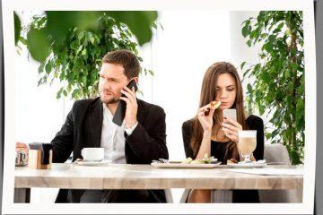 Couple on smartphones