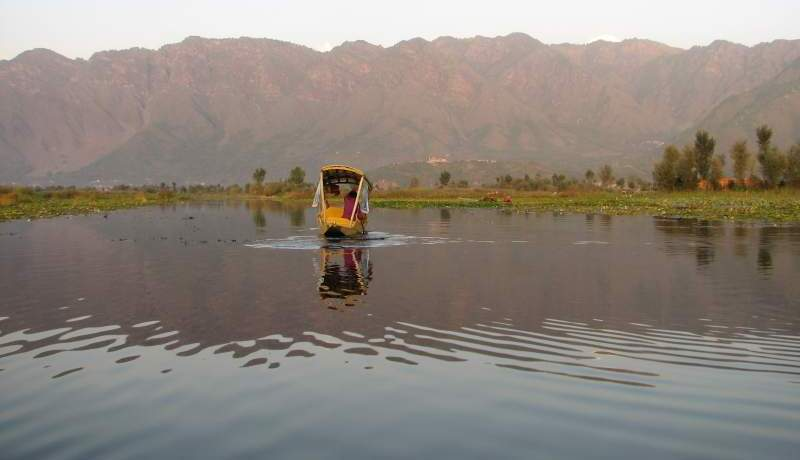 Shikara on Dal Lake in Srinigar, Kashmir, India