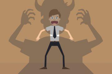 Man facing demon
