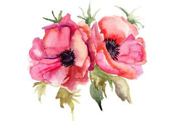 Watercolor painting - listen to the flowers