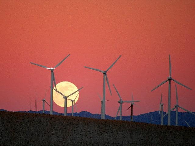 Wind turbines on wind farm