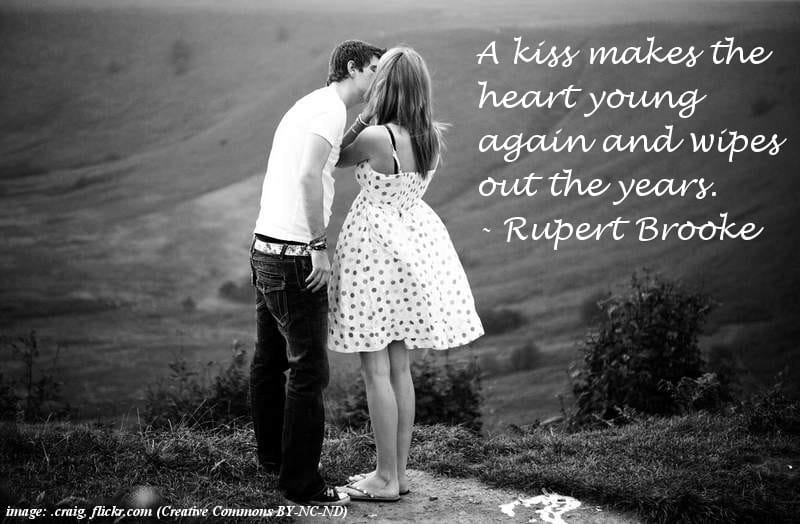 Young couple kissing - Sentimental quotes