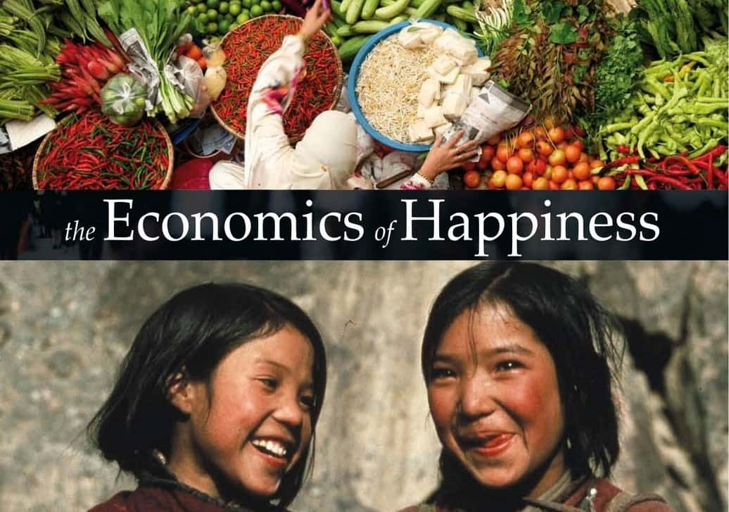 economics-of-happiness. Image farm food and two Ladakhi children - cover from the video