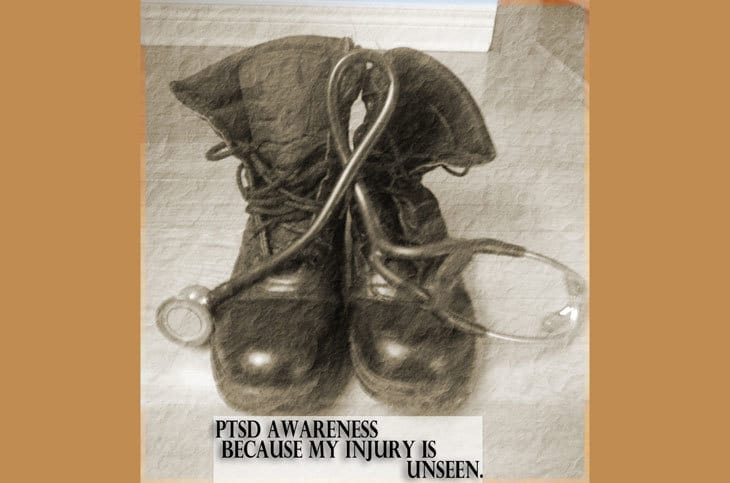 boots and stethoscope - PTSD awareness