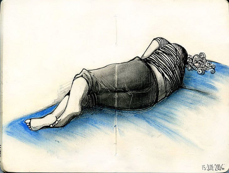 illustration of woman sleeping