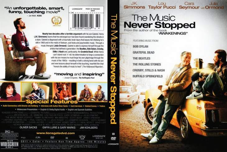 Front and back cover - Video review of The Music Never Stopped