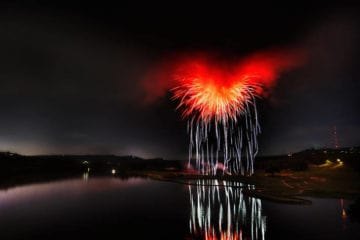 Fireworks over river - The Combination poem