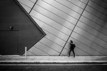 woman walking - road