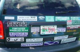 bumper stickers on car