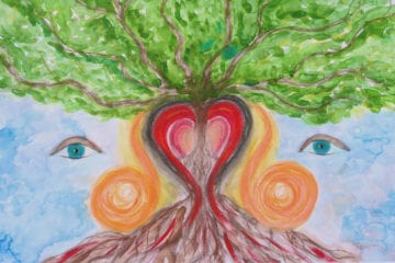 Face with heart and tree - Art therapy video review