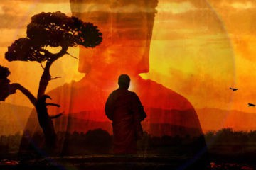 Meditator with Buddha background