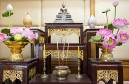 Buddha statue on altar