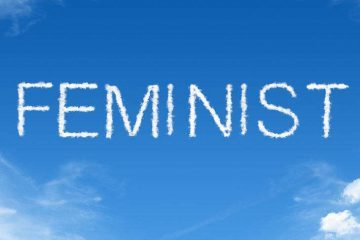 skywriting word feminist - feminists don't hate men
