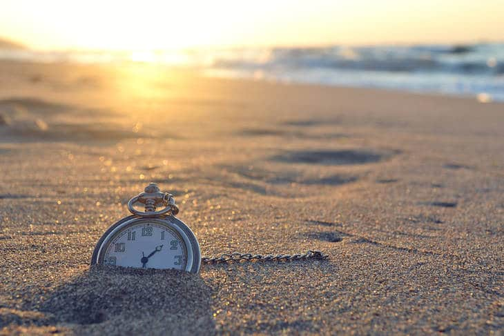Pocket watch in sand - Time and the writer