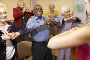 Seniors' stretching class - Empowering people with disabilities