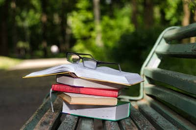 Books on park bench - Summer of '68 fiction