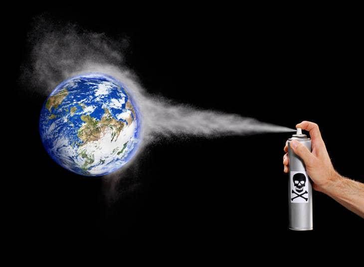 Aerosol can spraying Earth - Writing in the sky