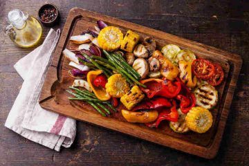 grilled vegetables on cutting board - eat simply and well