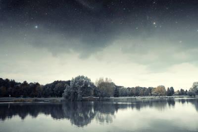 River at night - Long-ago riverboat days