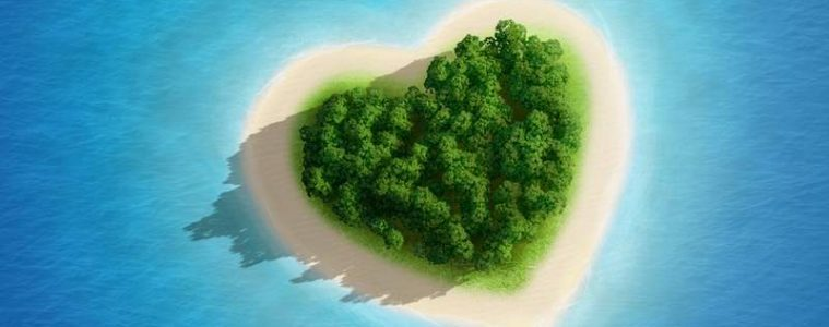 Island in the shape of a heart