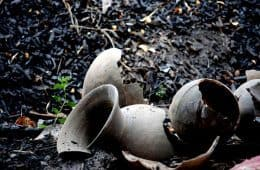 broken earthenware jars on the ground