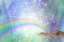 Rainbow emanating from hand